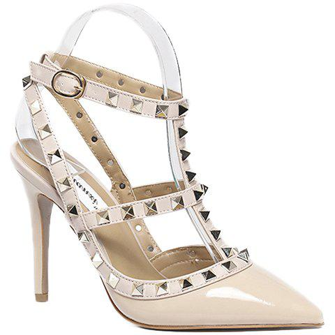 Fashionable PU Leather and Rivets Design Pumps For Women - APRICOT 37