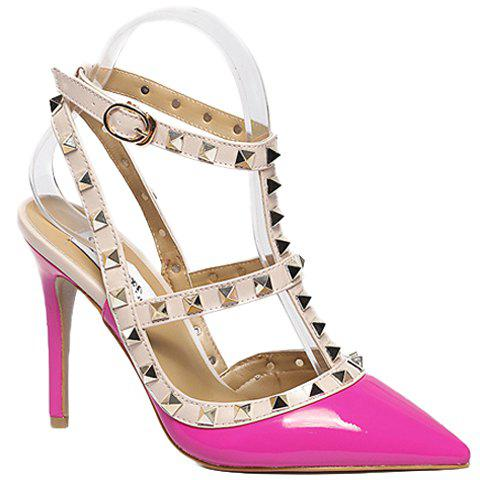 Fashionable PU Leather and Rivets Design Pumps For Women - ROSE 39