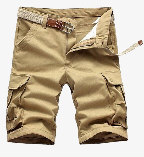 Shorts cargo de Loose Fit Straight Leg Solid Color Multi-Pocket Zipper Fly Hommes - Kaki 30