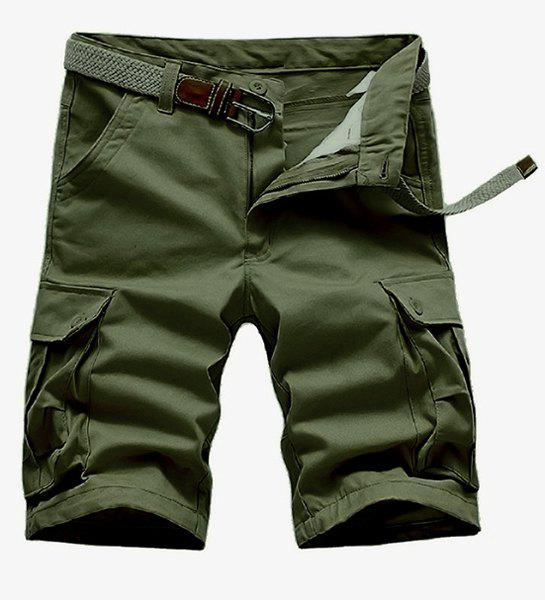 Loose Fit Straight Leg Solid Color Multi-Pocket Zipper Fly Men's Cargo Shorts - ARMY GREEN 32