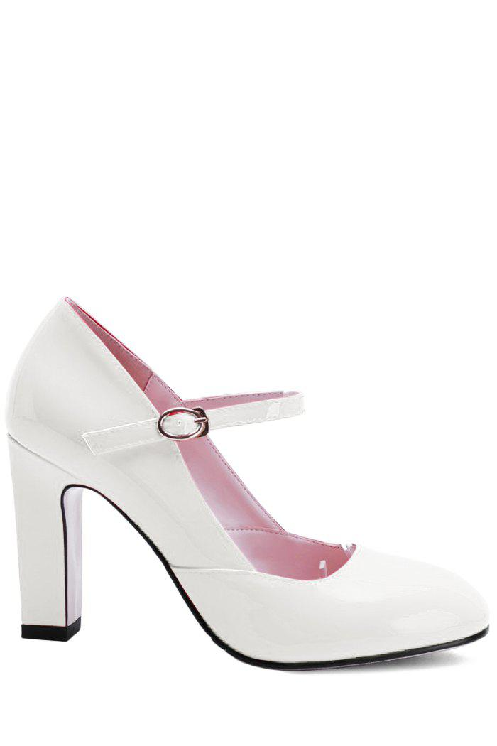 Elegant Ankle-Wrap and Chunky Heel Design Pumps For Women - WHITE 39