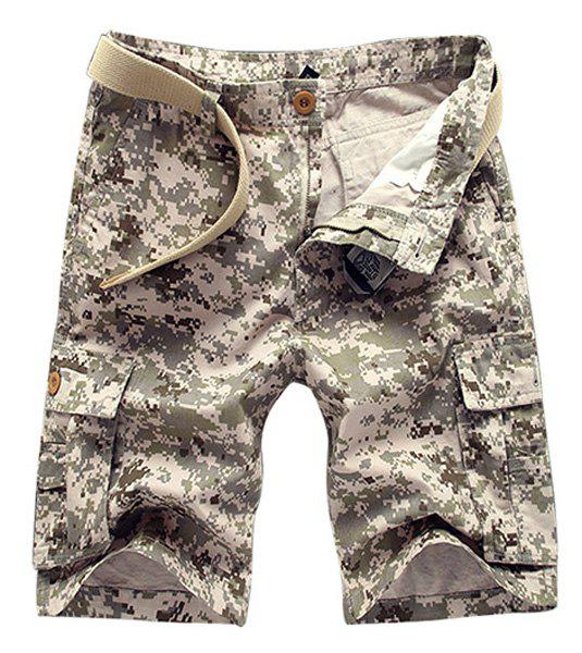 Military Style Straight Leg Multi-Pocket Zipper Fly Men's Camo Cargo Shorts - KHAKI 34