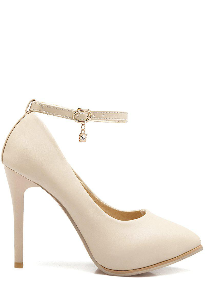 Elegant Ankle Strap and Stiletto Heel Design Pumps For Women - OFF WHITE 34