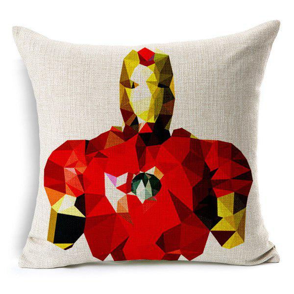 High Quality Geometric Iron Man Pattern Square Shape Pillow Case(Without Pillow Inner) - COLORMIX