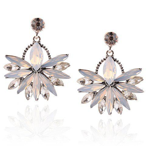 Pair of Leaf Faux Crystal Earrings - WHITE