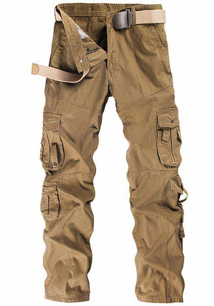 Casual Solid Color Multi-Pocket Straight Leg Zipper Fly Men's Cargo Pants - KHAKI 38