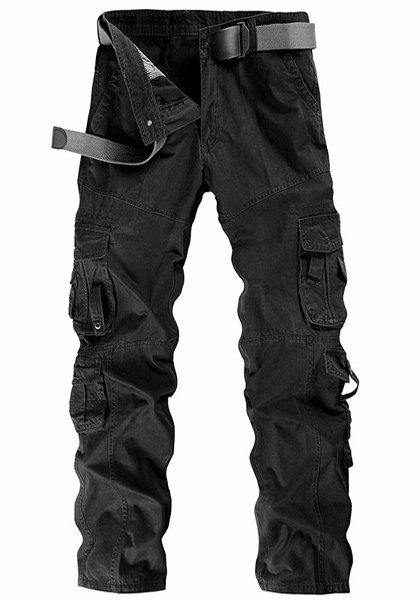 Casual Solid Color Multi-Pocket Straight Leg Zipper Fly Men's Cargo Pants - BLACK 34