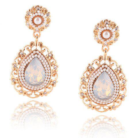 Pair of Noble Faux Pearl Water Drop Hollow Out Earrings For Women
