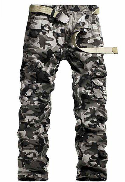 Camo Print Multi-Pocket Straight Leg Zipper Fly Men's Cargo Pants - GRAY 33