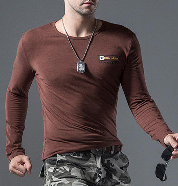 Casual Round Neck Letters Pattern Long Sleeves Men's Solid Color T-Shirt - COFFEE 3XL