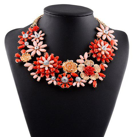 Floral Rhinestone Necklace - RED