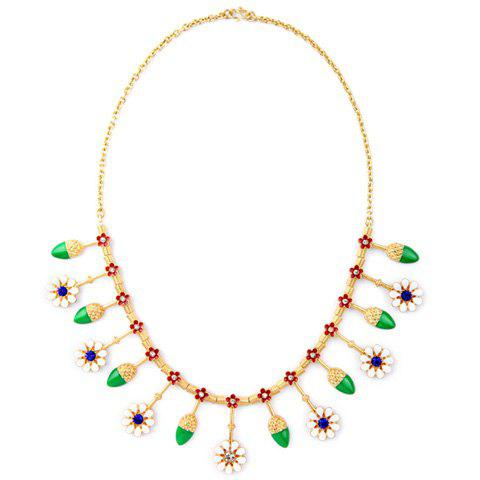 Delicate Glaze Flower Rhinestone Necklace For Women
