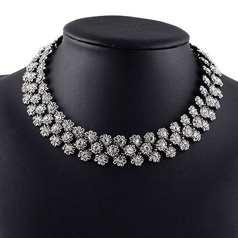Vintage Exaggerated Rhinestoned Flower Necklace For Women - WHITE