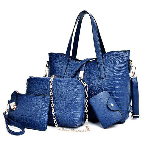 Stylish Crocodile Print and Metal Hasp Design Shoulder Bag For Women - BLUE