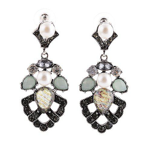 Pair of Vintage Faux Pearl Geometric Hollow Out Earrings For Women