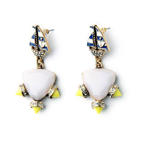 Pair of Trendy Glaze Sailboat Faux Triangle Gemstone Earrings For Women - GOLDEN