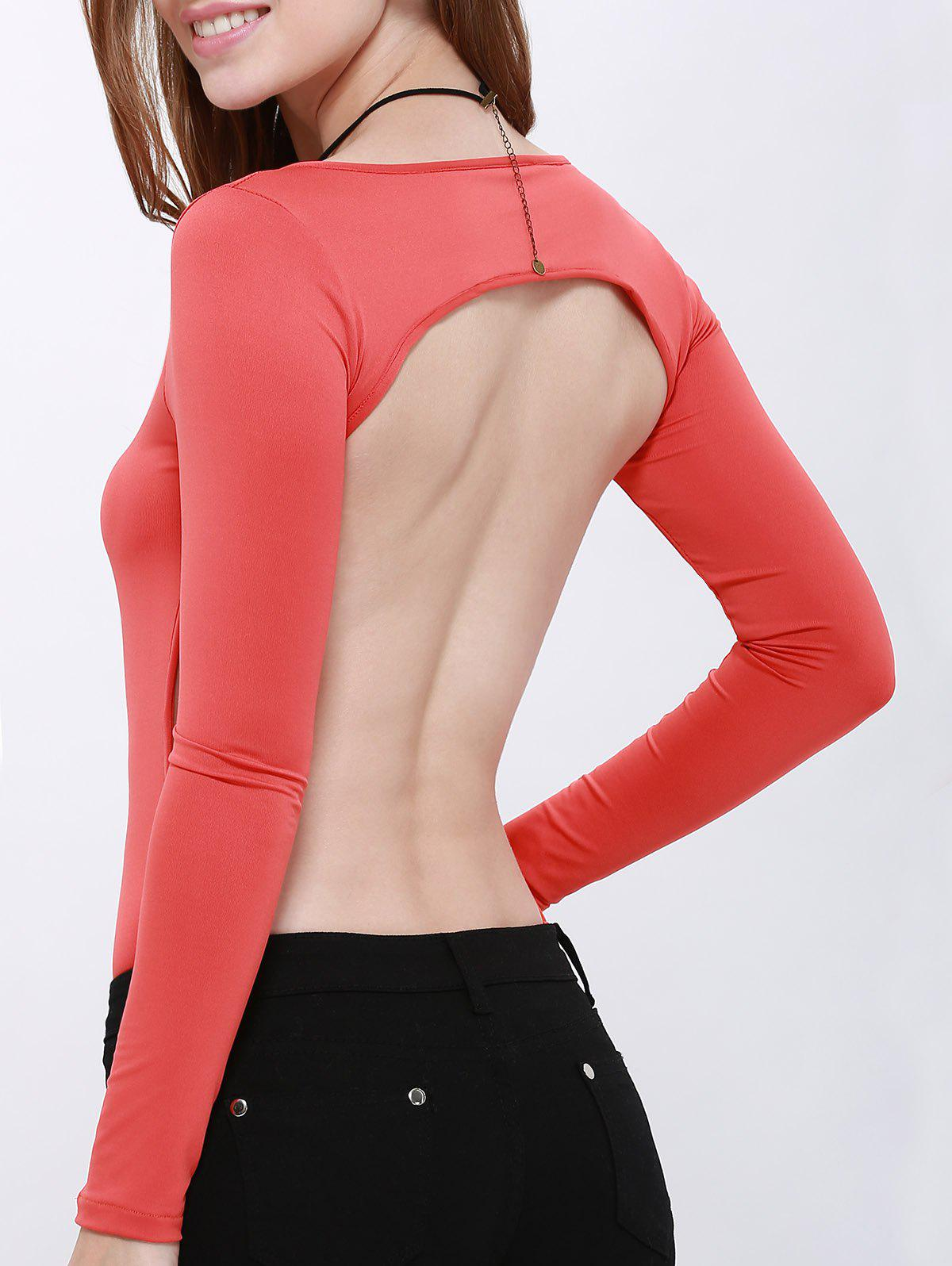Sexy Scoop Neck Long Sleeve Hollow Back Women's Bodysuit long sleeve open back v neck bodysuit