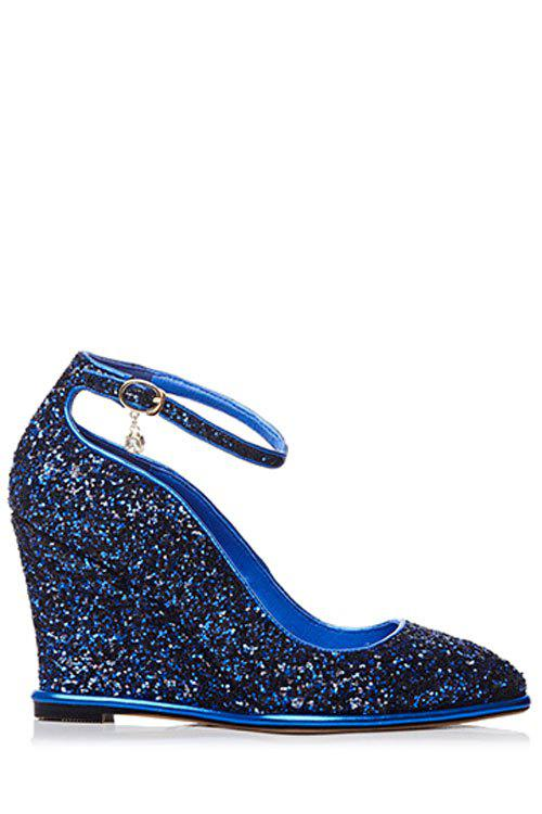 Stylish Sequins and Ankle Strap Design Wedge Shoes For Women - BLUE 38
