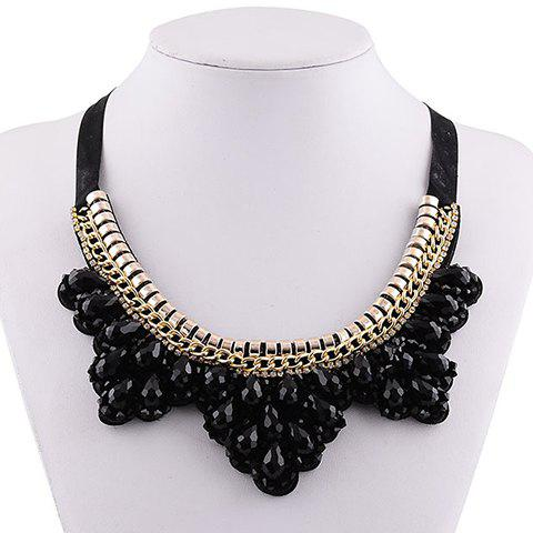 Delicate Exaggerated Faux Gem Water Drop Necklace For Women - BLACK