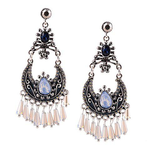 Pair of Gothic Faux Crystal Water Drop Earrings For Women