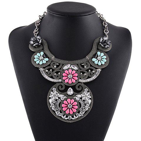 Faux Crystal Floral Necklace - PINK