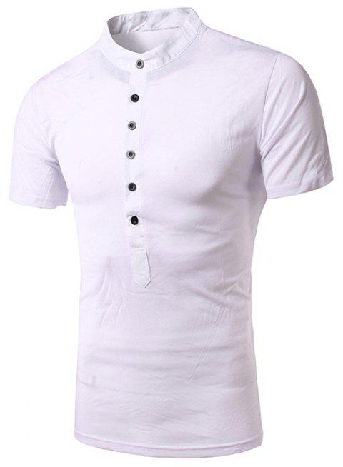 Simple Stand Collar Single Breasted Design Short Sleeve Men's T-Shirt - WHITE L