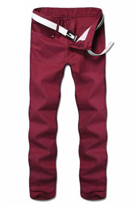 Casual Straight Leg Solid Color Zipper Fly Men's Pants - RED 30