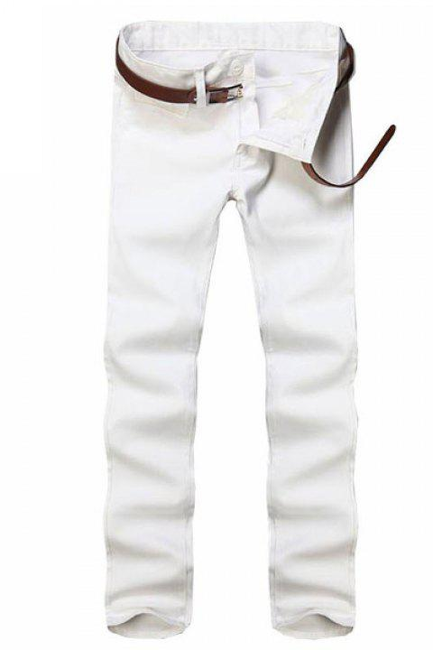 Jambe droite Pantalons Couleur Zipper Fly Hommes solides Casual - Blanc 38