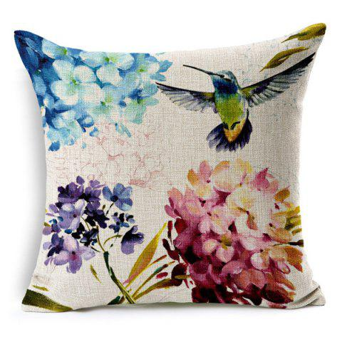 High Quality Flower Bird Pattern Square Shape Pillow Case(Without Pillow Inner) - COLORMIX