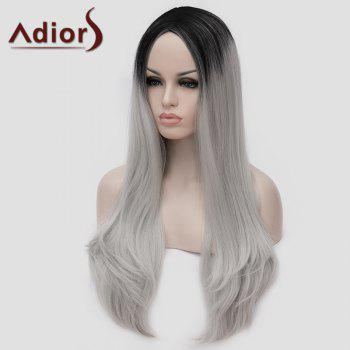 Lolita Black Ombre Silvery White Long Synthetic Trendy Shaggy Wavy Women's Cosplay Wig - OMBRE