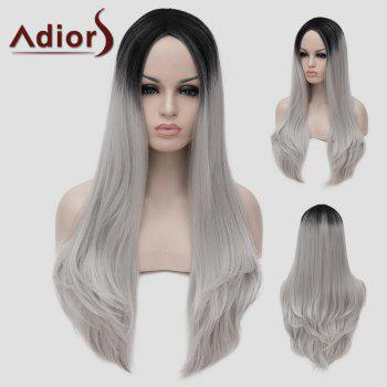 Lolita Black Ombre Silvery White Long Synthetic Trendy Shaggy Wavy Women's Cosplay Wig