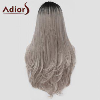 Charming Lolita Black Ombre Silvery Gray Fluffy Wavy Synthetic Long Cosplay Wig For Women - COLORMIX