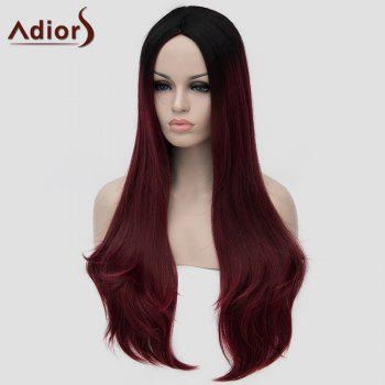 Lolita Black Ombre Wine Red Charming Long Middle Part Wavy Synthetic Women's Cosplay Wig - COLORMIX