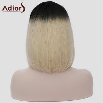 Lolita Black Gradient Light Blonde Vogue Short Straight Capless Women's Synthetic Cosplay Wig - COLORMIX