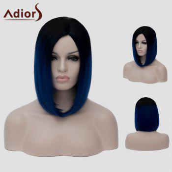 Trendy Lolita Short Black Ombre Dark Blue Capless Straight Synthetic Cosplay Wig For Women