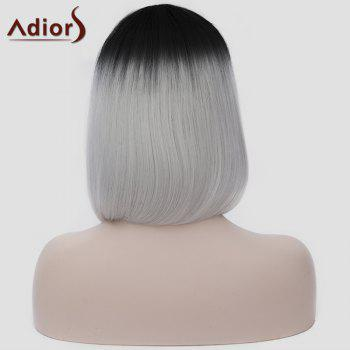 Harajuku Straight Synthetic Attractive Short Black Ombre Silvery White Capless Women's Cosplay Wig - COLORMIX