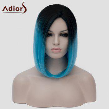 Vogue Harajuku Black Ombre Blue Short Straight Tail Adduction Synthetic Cosplay Wig For Women - BLACK/BLUE