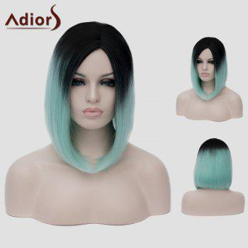 Lolita Short Straight Tail Adduction Trendy Black Ombre Green Synthetic Women's Cosplay Wig