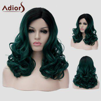 Fluffy Wavy Capless Fashion Black Ombre Dark Green Synthetic Long Universal Wig For Women