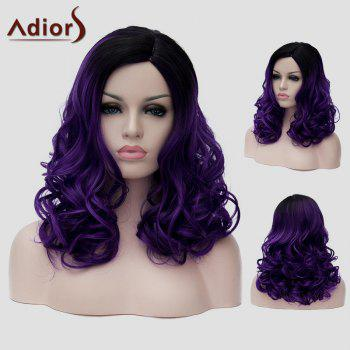 Trendy Long Black Ombre Dark Purple Capless Fluffy Wavy Synthetic Universal Wig For Women