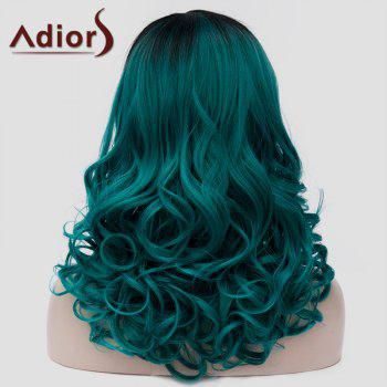 Stylish Black Ombre Blackish Green Capless Fluffy Wavy Synthetic Long Women's Universal Wig - OMBRE 2