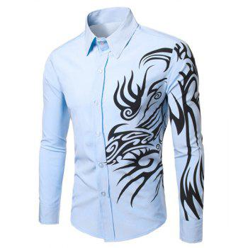 Fashion Turn Down Collar Long Sleeves Dragon Printed Shirt For Men