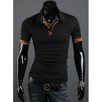 Turn Down Collar Short Sleeves Tiger Print T-Shirt For Men