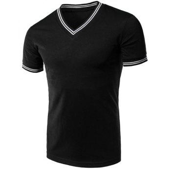 Buy Men's Stripe Cuff Solid Color V-Neck Short Sleeves T-Shirt BLACK