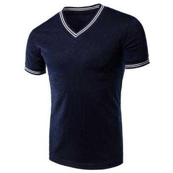 Men's Stripe Cuff Solid Color V-Neck Short Sleeves T-Shirt