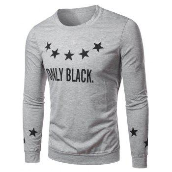 Round Collar Letter Star Printed Long Sleeves T-Shirt For Men