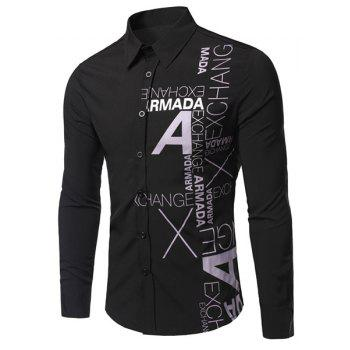 Turn-Down Collar Letters Pattern Print Long Sleeve Men's Shirt