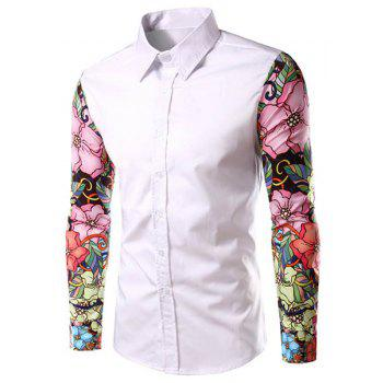 Stylish Turn-Down Collar Floral Print Spliced Long Sleeve Men's Shirt
