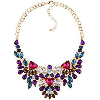 Faux Crystal Geometric Water Drop Necklace - COLORMIX
