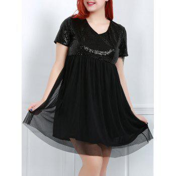 Stylish Women's V-Neck Short Sleeve Sequins Plus Size Dress